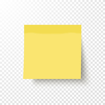 Yellow sticky note isolated on transparent background. Note post memo, label. Realistic template, mockup with shadow for your projects. Vector stock illustration.