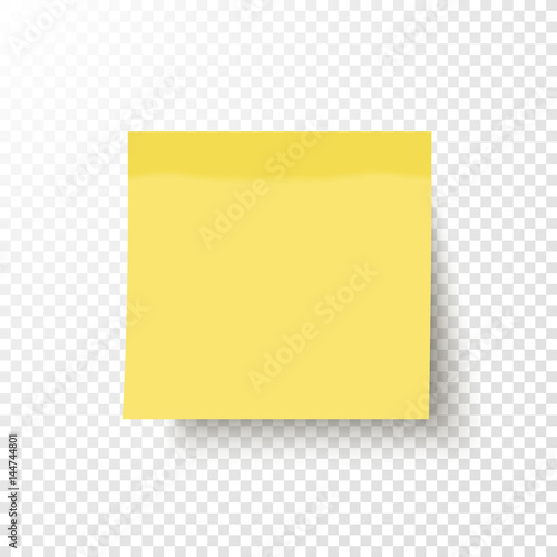 Yellow sticky note isolated on transparent background for Post it labels templates