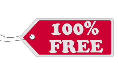 100% free red speech bubble label or sign