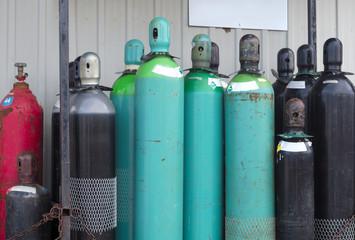 empty tanks propane oxygen nitrogen chemical gas bottles