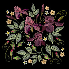 Beautiful spring purple irises against black background, embroidery template. Embroidery irises