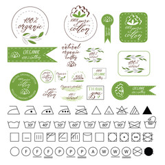 Natural organic cotton, pure cotton vector labels set. Hand drawn, typographic style icons or badges, stickers, signs. Isolated on white background.Set of washing symbols