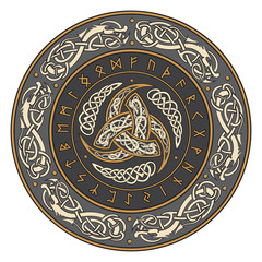 Triple Horn of Odin decorated with Scandinavian ornaments and runes