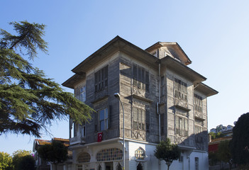 View of old, historical, wooden mansion in Heybeliada which is one of Prince islands near Istanbul.