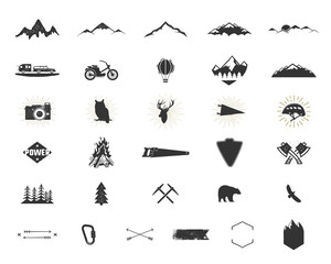 Outdoor adventure silhouette icons set. Climb and camping shapes collection. Simple black pictograms bundle. Use for creating logo, labels and other hiking, surf designs. Vector isolated on white.