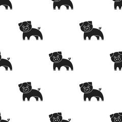 Pig black icon. Illustration for web and mobile design.
