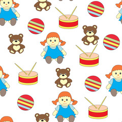 Seamless pattern with children's toys . The Vekorny picture with a doll, drum, a bear and a ball.