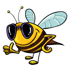 Cartoon image of bee wearing sunglasses. An artistic freehand picture.