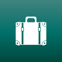 Suitcase flat vector illustration on green background. Case for tourism, journey, trip, tour, voyage, summer vacation.