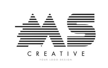 MS M S Zebra Letter Logo Design with Black and White Stripes