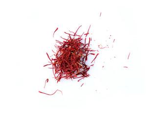 saffron pistil on white background