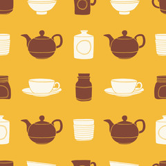 Kitchenware seamless pattern. Kitchen colorful vector background made of cups, tea pots, jars