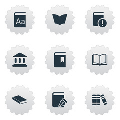 Vector Illustration Set Of Simple Reading Icons. Elements Sketchbook, Book Cover, Alphabet And Other Synonyms Journal, Textbook And Dictionary.