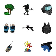 A collection of pictures about the game in paintball. The balloons with paint.Paintball icon in set collection on cartoon style vector symbol stock illustration.