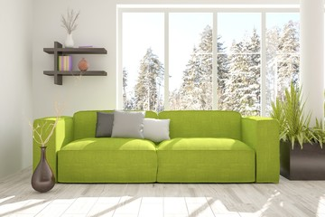 White room with green sofa and winter landscape in window. Scandinavian interior design. 3D illustration