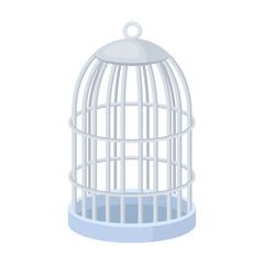 Metal cage for birds.Pet shop single icon in cartoon style vector symbol stock illustration web.