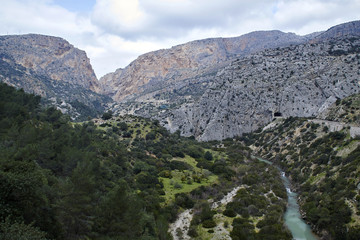 Fototapete - Desfiladero de los Gaitanes, mountains and Guadalhorce river