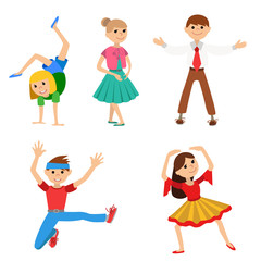 Children dancing, vector illustration