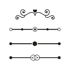 Collection of handdrawn dividers borders made vector illustration.