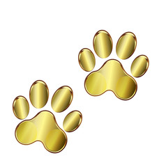 Gold dog paws logo vector