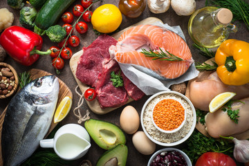 Balanced diet. Organic food for healthy nutrition. Healthy food cooking ingredients.