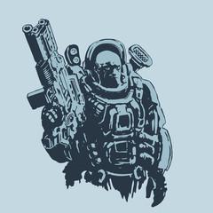 Heavy space marine. Vector illustration.