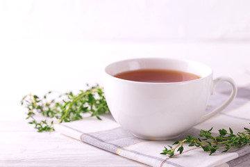 Thyme herbal tea. Healthy drink. Alternative medicine