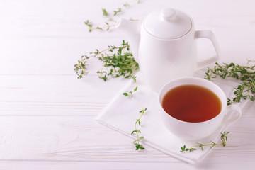 Thyme herbal tea. Healthy drink. Alternative medicine
