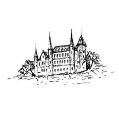 Hand drawn medieval castle sketch. Vector illustration.