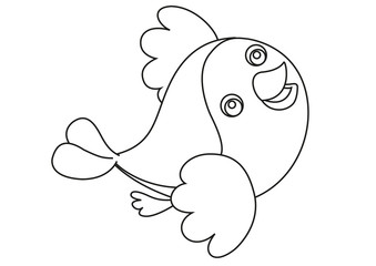 Fotobehang - cartoon bird flying coloring page illustration for children