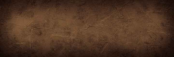 Brown empty concrete stone texture. Slate background. Long banner format. Wall mural