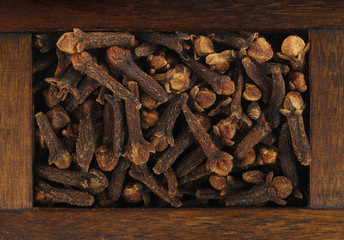 cloves in wooden box isolated