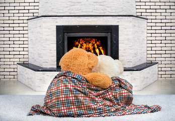 Two Teddy bear hugging and staring at the flame of the fire in the fireplace.
