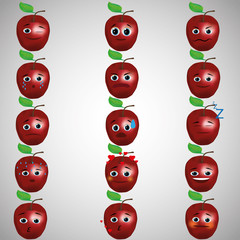 Set of smileys, Apple. Apple with different facial expressions. The facial expressions on the Apple. red Apple. All on a gray background.