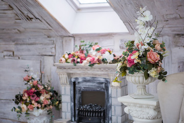 Fireplace and decor of flowers
