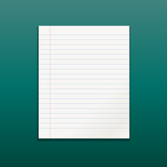 Realistic line paper note on green background