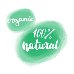 Organic product badge, vintage label with hand drawn lettering Natural cosmetics. Vector natural, organic food, bio, eco label and shape.