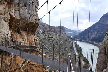 Fototapete - Suspension bridge of Caminito del Rey, Spain