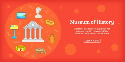 Museum banner horizontal, cartoon style