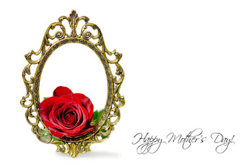 Mothers Day card: Red rose in the vintage frame isolated on white background