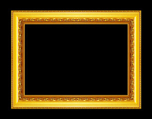Antique gold frame isolated on black background, clipping path