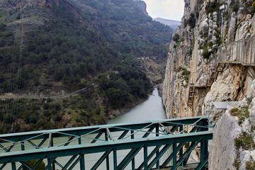 Fototapete - Railway bridge at the Garganta del Chorro, Caminito del Rey