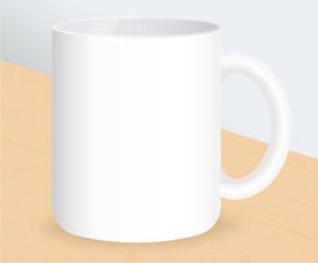 Realistic white coffee cup on wooden table. Vector illustration.
