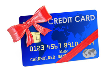 Credit card with bow and ribbon closeup, gift concept. 3D rendering