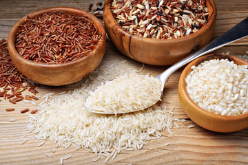 Four types of rice: basmati, mix long grain, arborio and red rice