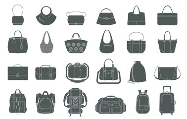 Set of icons of bags and luggage. Various types of bags ranging from elegant, sports, business and travel bags.