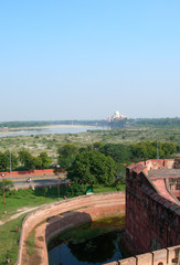 View of the Taj Mahal from Fort Agra, Northern India