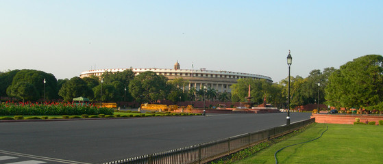 Indian Parliament building complex and adjacent landscaped park in New Delhi, India