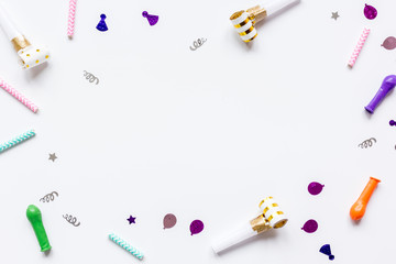 birthday party design with confetti top view space for text