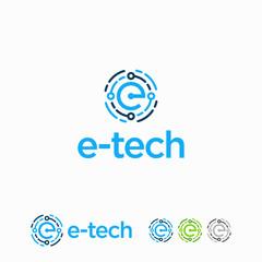 E initial Technology Logo designs template